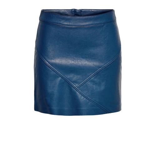 ONLY imitatieleren rok donkerblauw