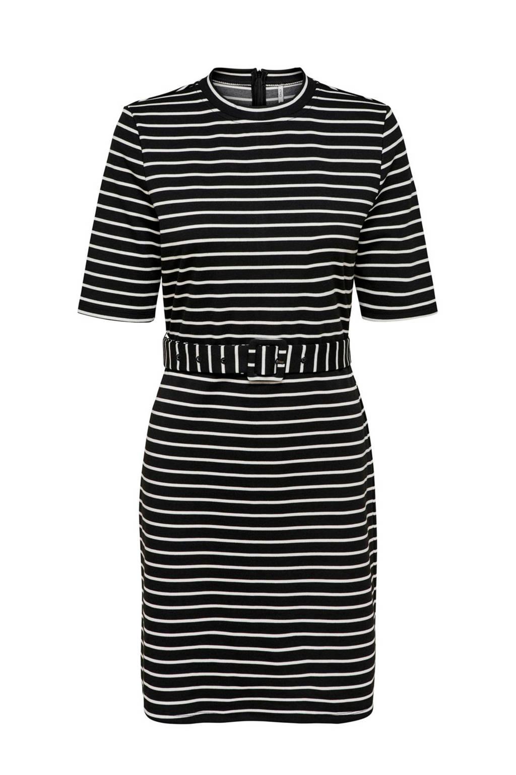 ONLY gestreepte jersey jurk zwart/wit, Zwart/wit