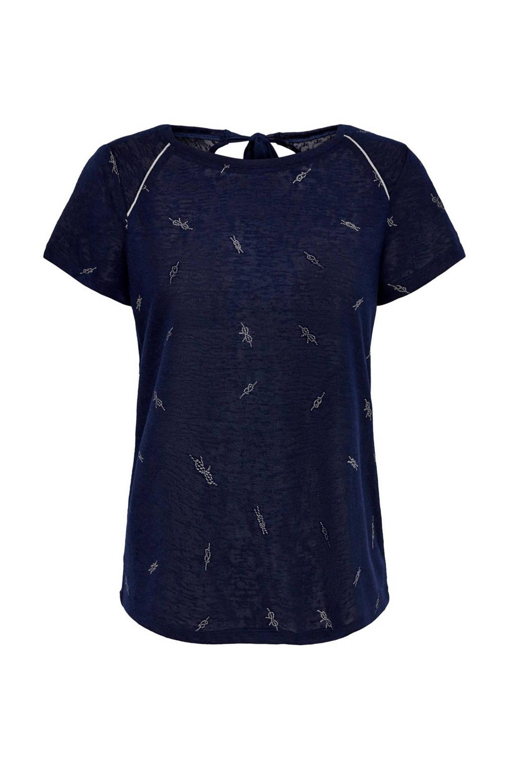 ONLY T-shirt met all over print blauw, Blauw