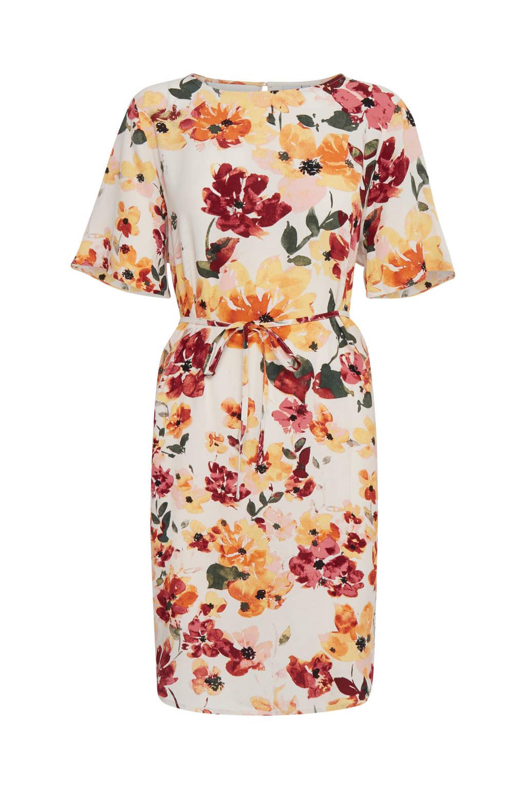 ICHI gebloemde jurk Ihbrunsa roze/rood/geel, Roze/rood/geel