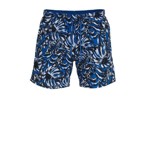 BOSS zwemshort met all over print blauw