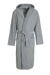 BOSS badjas met textuur en capuchon grijs, Grijs