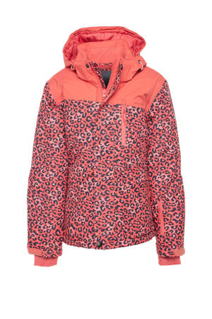 ski-jack dierenprint roze/zwart