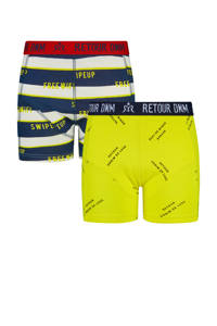 Retour Denim Junior  boxershort Raymond (set van 2), Geel/donkerblauw/rood