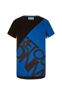 Retour Denim T-shirt Gavin met contrastbies zwart/hardblauw, Zwart/hardblauw