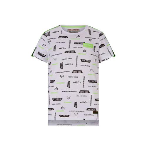 Retour Denim T-shirt Robert met contrastbies wit/z