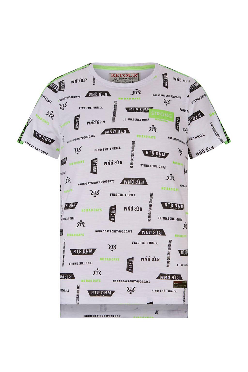 Retour Denim T-shirt Robert met contrastbies wit/zwart/groen