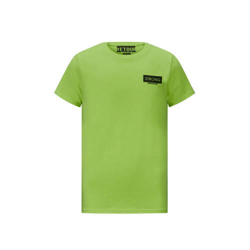 Retour Denim T-shirt Melvin met logo neon groen/zw