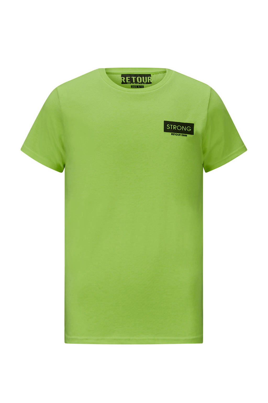 Retour Denim T-shirt Melvin met logo neon groen/zwart