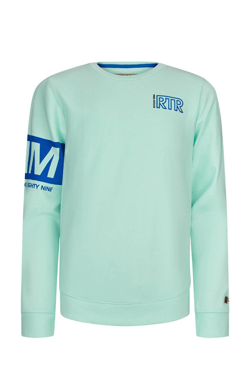 Retour Denim sweater Sammy met printopdruk mintgroen/blauw, Mintgroen/blauw