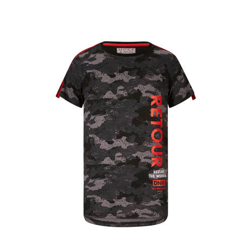 Retour Denim T-shirt Levi met contrastbies zwart/a