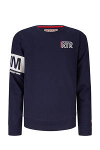 Retour Denim sweater Sammy met printopdruk donkerblauw/wit, Donkerblauw/wit