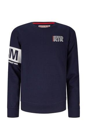 sweater Sammy met printopdruk donkerblauw/wit
