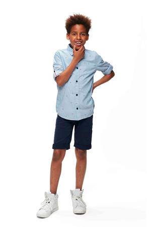 overhemd Nils met all over print lichtblauw