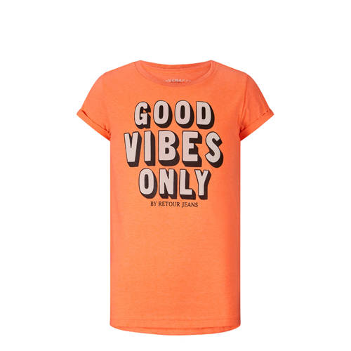 Retour Denim T-shirt Maribelle met tekst oranje/zw
