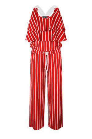 gestreepte jumpsuit rood/wit