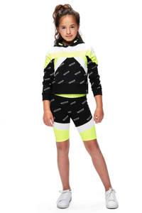 Retour Denim cropped sweater Giselle met all over print zwart/wit/neon geel, Zwart/wit/neon geel