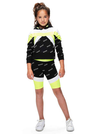 cropped sweater Giselle met all over print zwart/wit/neon geel