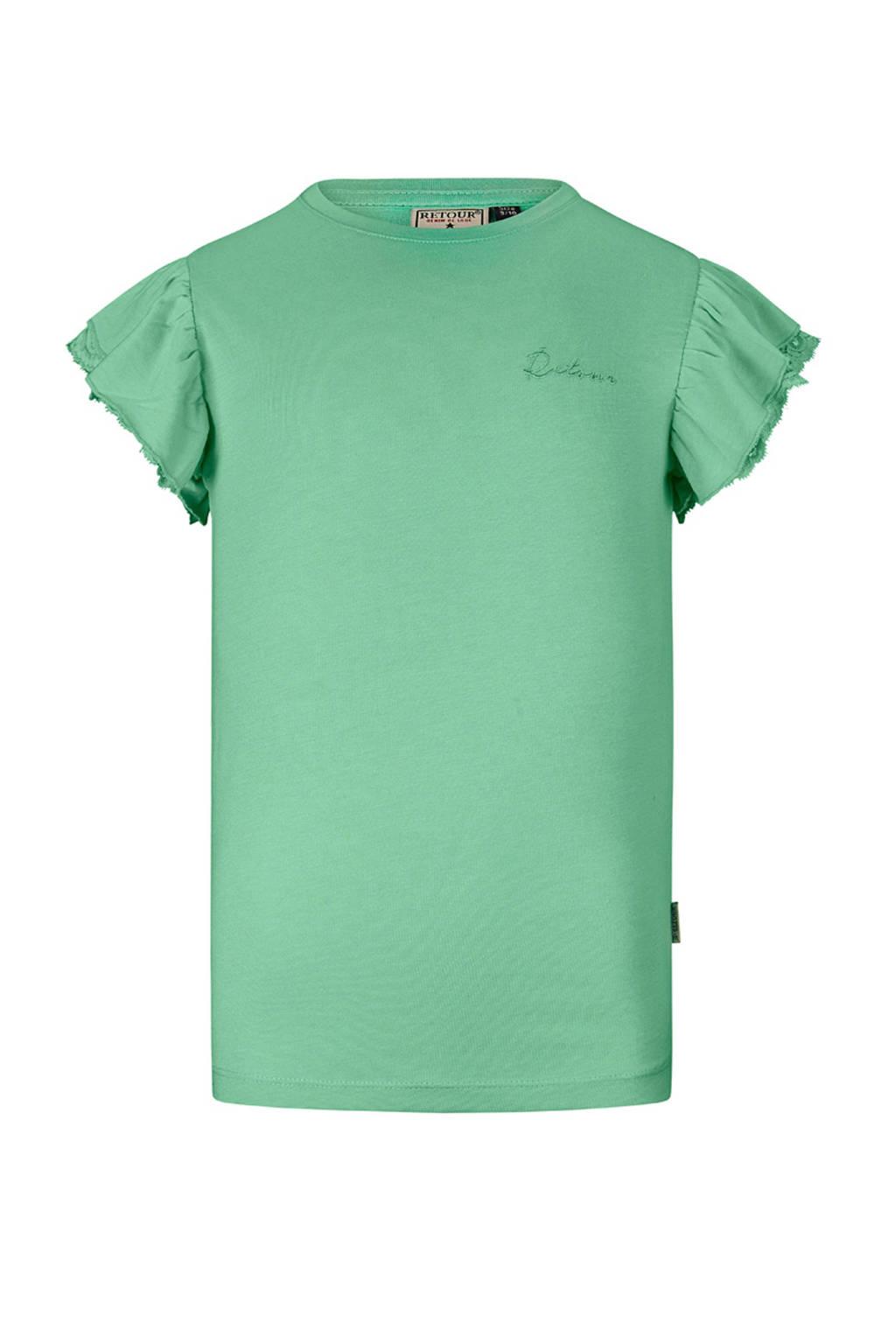 Retour Denim T-shirt Hanna met borduursels donker mintgroen