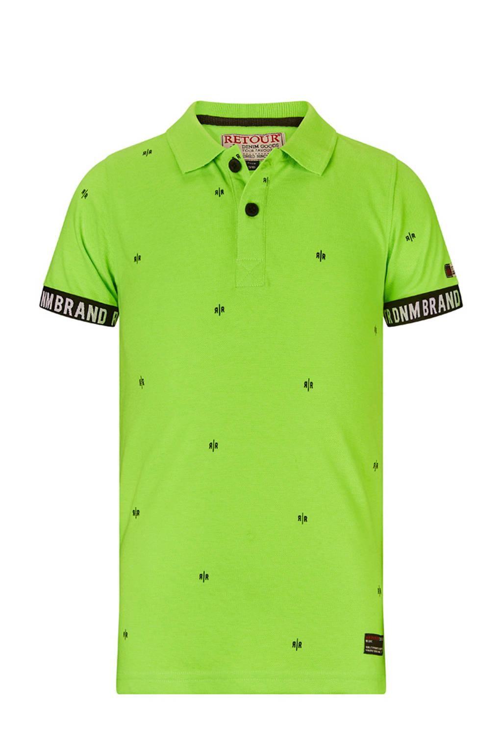 Retour Denim polo Gustav met all over print neon groen/zwart/ecru, Neon groen/zwart/ecru
