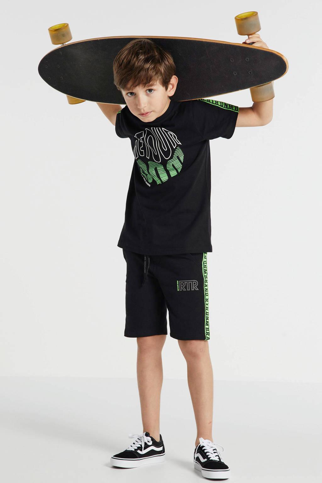 Retour Denim T-shirt Charlie met printopdruk zwart/groen/wit, Zwart/groen/wit