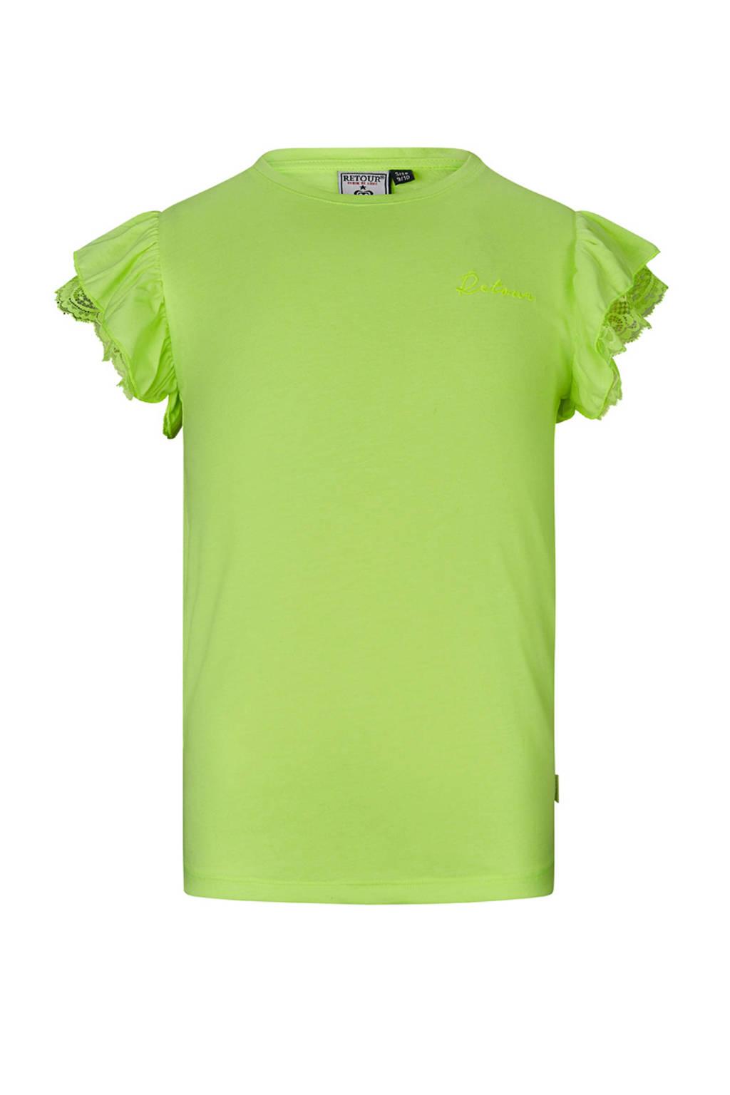 Retour Denim T-shirt Hanna met borduursels neon geel, Neon geel