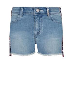 regular fit jeans short Samantha met zijstreep light denim/donkerblauw/roze