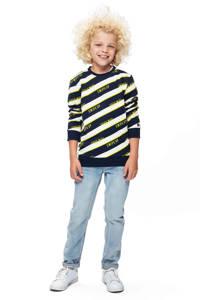 Retour Denim sweater Otis met all over print donkerblauw/ecru/geel, Donkerblauw/ecru/geel