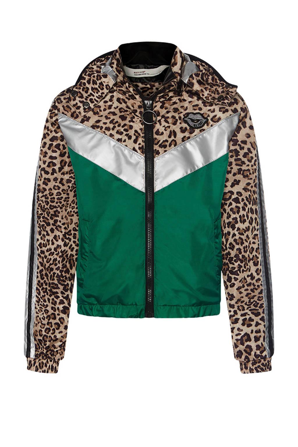 Retour Denim jas Carrie met panterprint groen/bruin/wit, Groen/bruin/wit