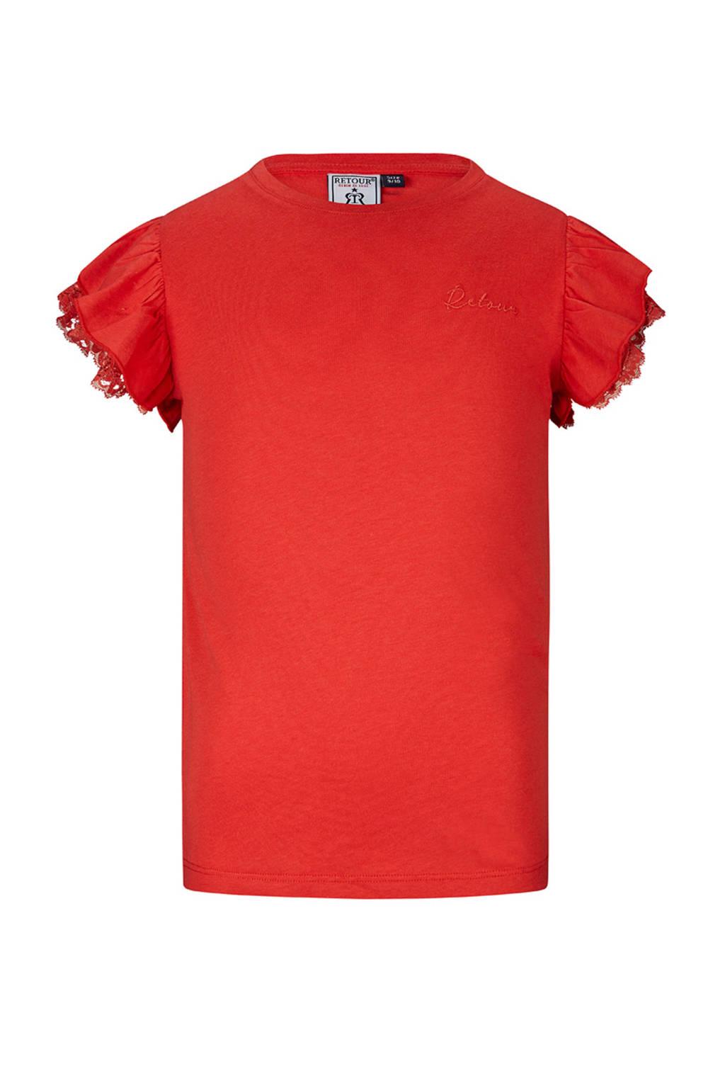 Retour Denim T-shirt Hanna met borduursels rood, Rood