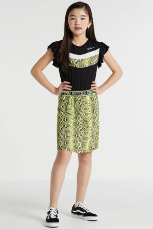 jurk Luna met dierenprint zwart/geel/wit