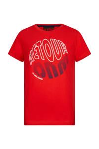 Retour Denim T-shirt Randy met printopdruk rood, Rood