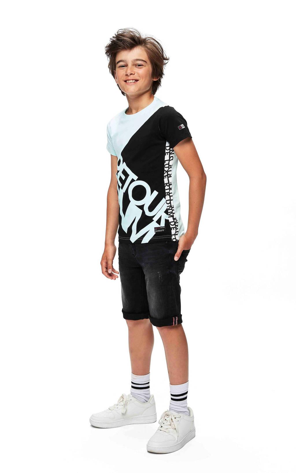 Retour Denim regular fit jeans bermuda Reve zwart, Zwart