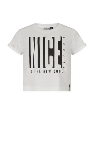 cropped T-shirt Sara met printopdruk ecru/zwart