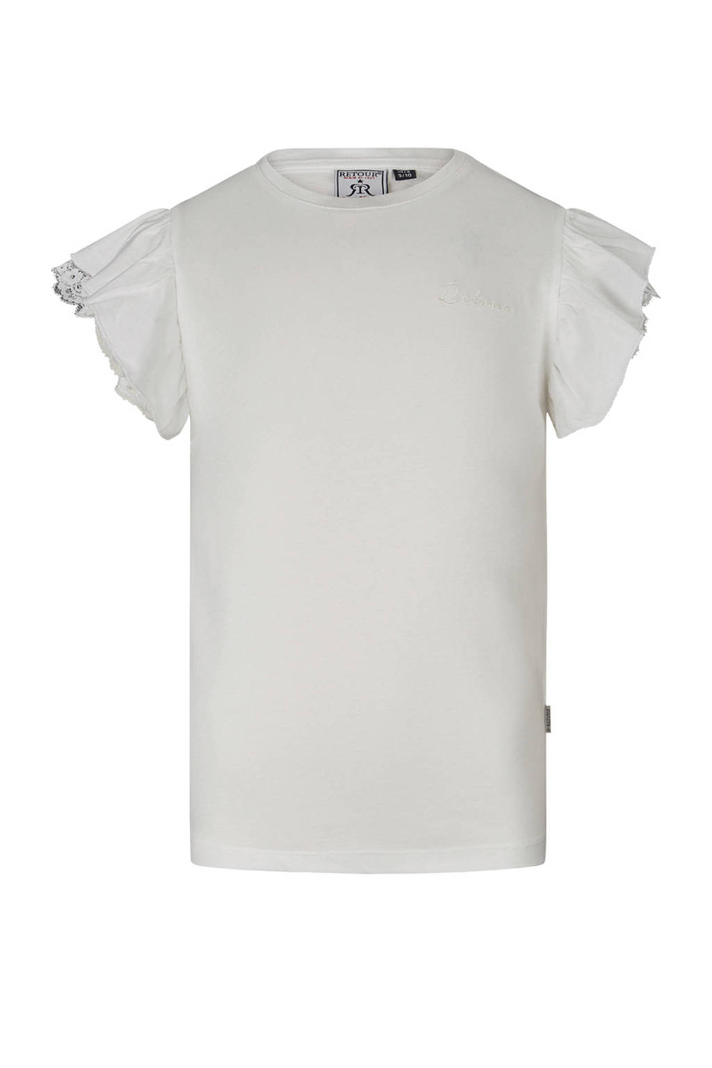 Retour Denim T-shirt Hanna met borduursels ecru, Ecru
