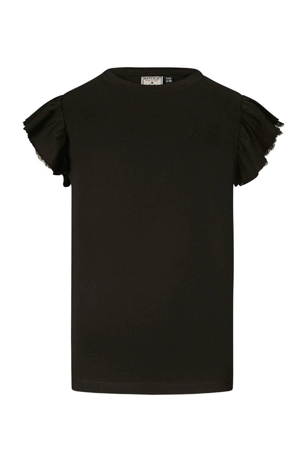 Retour Denim T-shirt Hanna met borduursels zwart, Zwart
