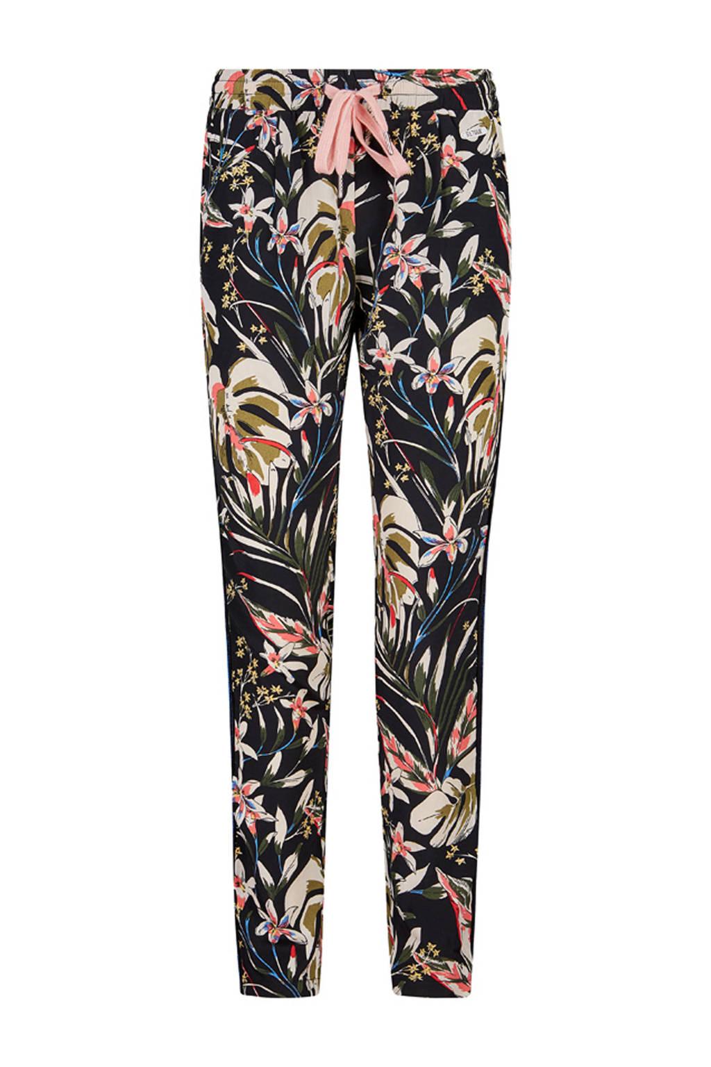 Retour Denim gebloemde loose fit broek Adele met zijstreep zwart/ecru/roze, Zwart/ecru/roze