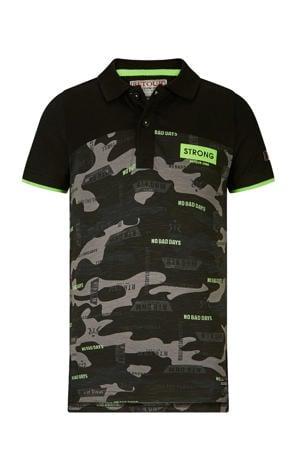 polo Jacco met camouflageprint zwart/antraciet/groen