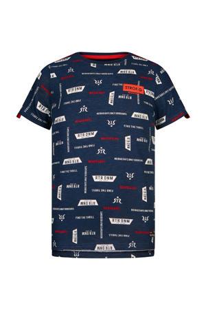 T-shirt Robert met contrastbies donkerblauw/wit/rood