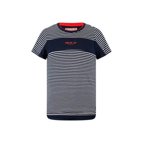 Retour Denim gestreept T-shirt Pharrel donkerblauw