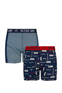 Retour Denim Junior  boxershort Vito (set van 2), Donkerblauw/rood/wit