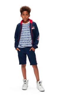 Retour Denim regular fit sweatshort Lars met zijstreep donkerblauw/rood/wit, Donkerblauw/rood/wit