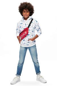 Retour Denim hoodie James met all over print wit/blauw/rood, Wit/blauw/rood