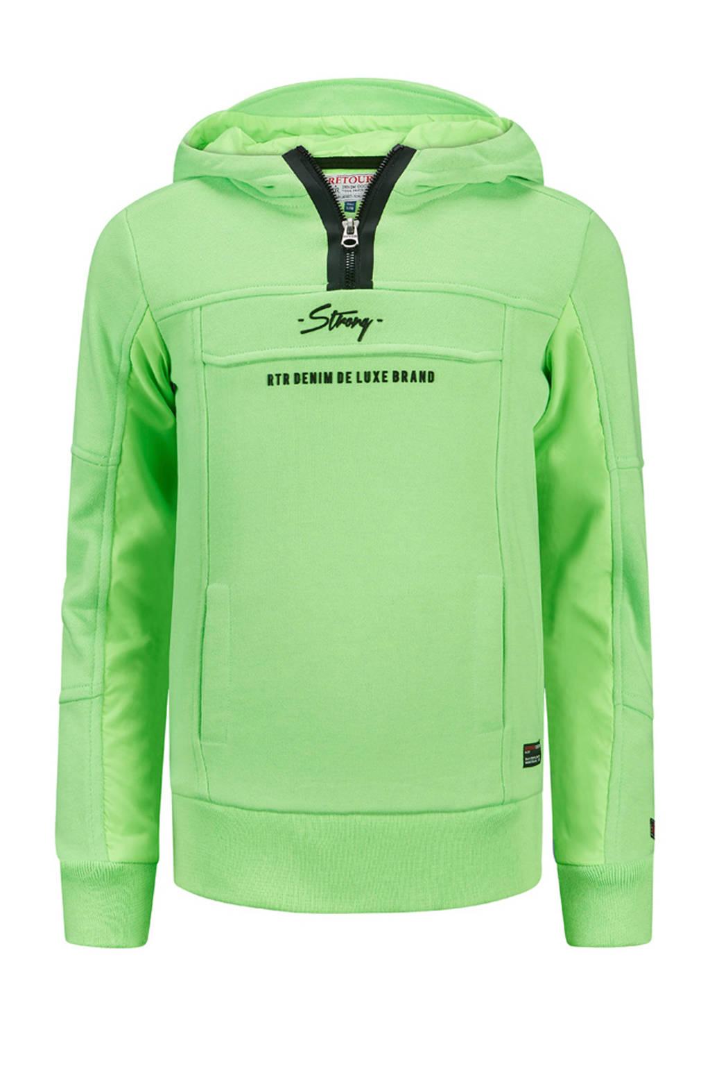 Retour Denim hoodie Chiel met logo neon groen/zwart