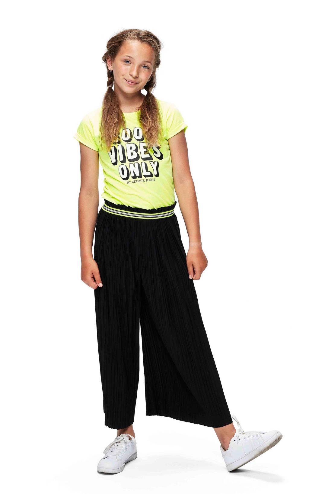Retour Denim T-shirt Maribelle met tekst neon geel/zwart, Neon geel/zwart