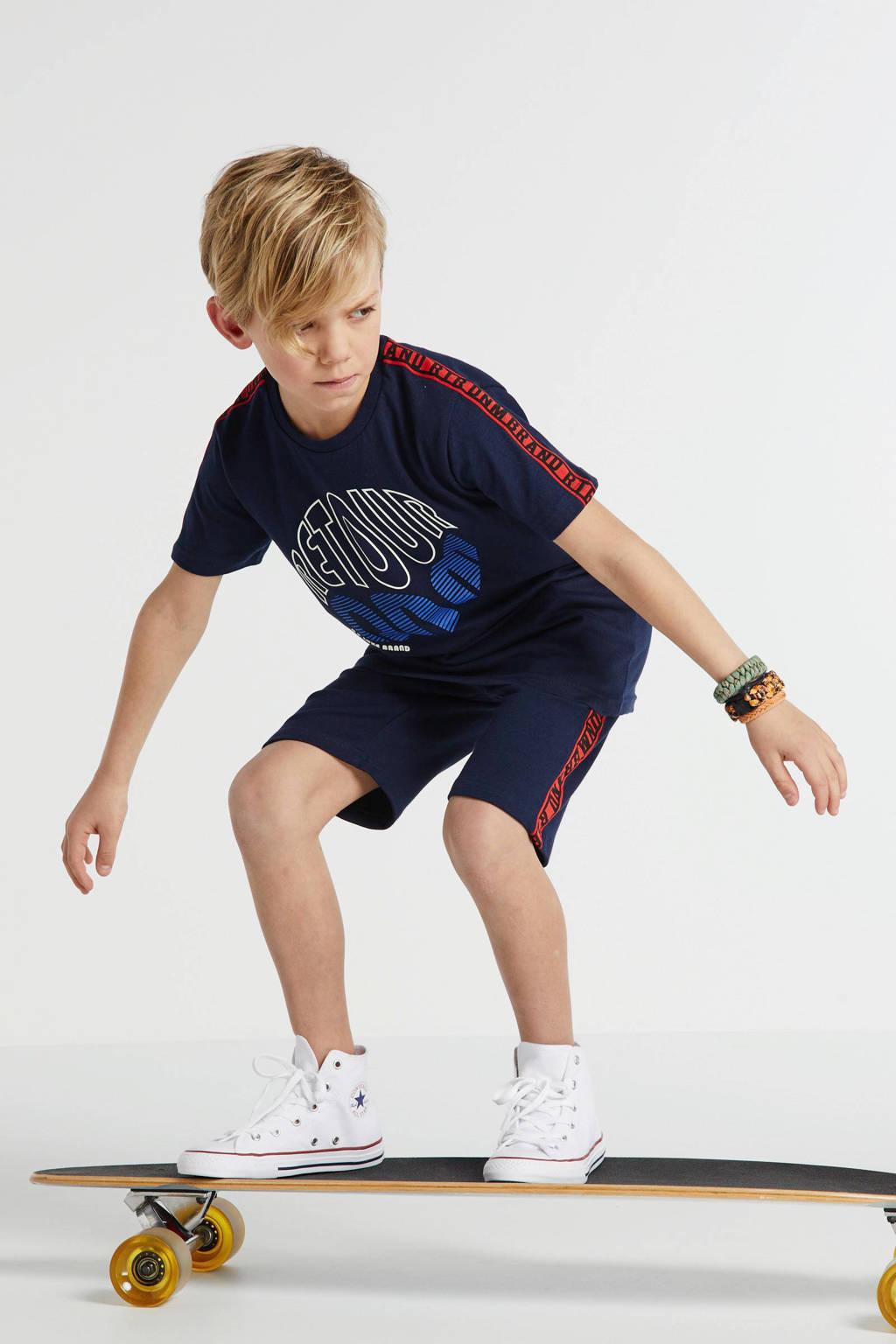 Retour Denim T-shirt Charlie met contrastbies en contrastbies donkerblauw/rood, Donkerblauw/rood