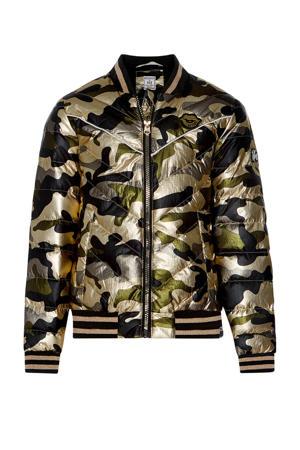 jas Cynthia met camouflageprint goud/zwart/olijfgroen