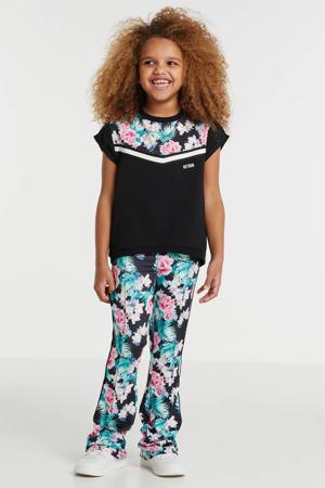 gebloemde flared broek Tess met zijstreep zwart/roze/groen
