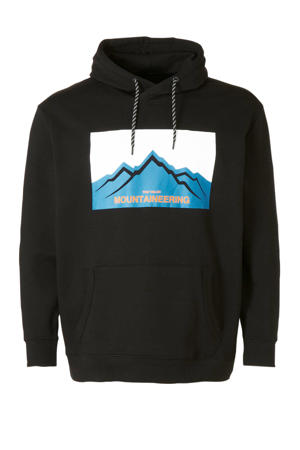 hoodie met printopdruk zwart/wit/blauw