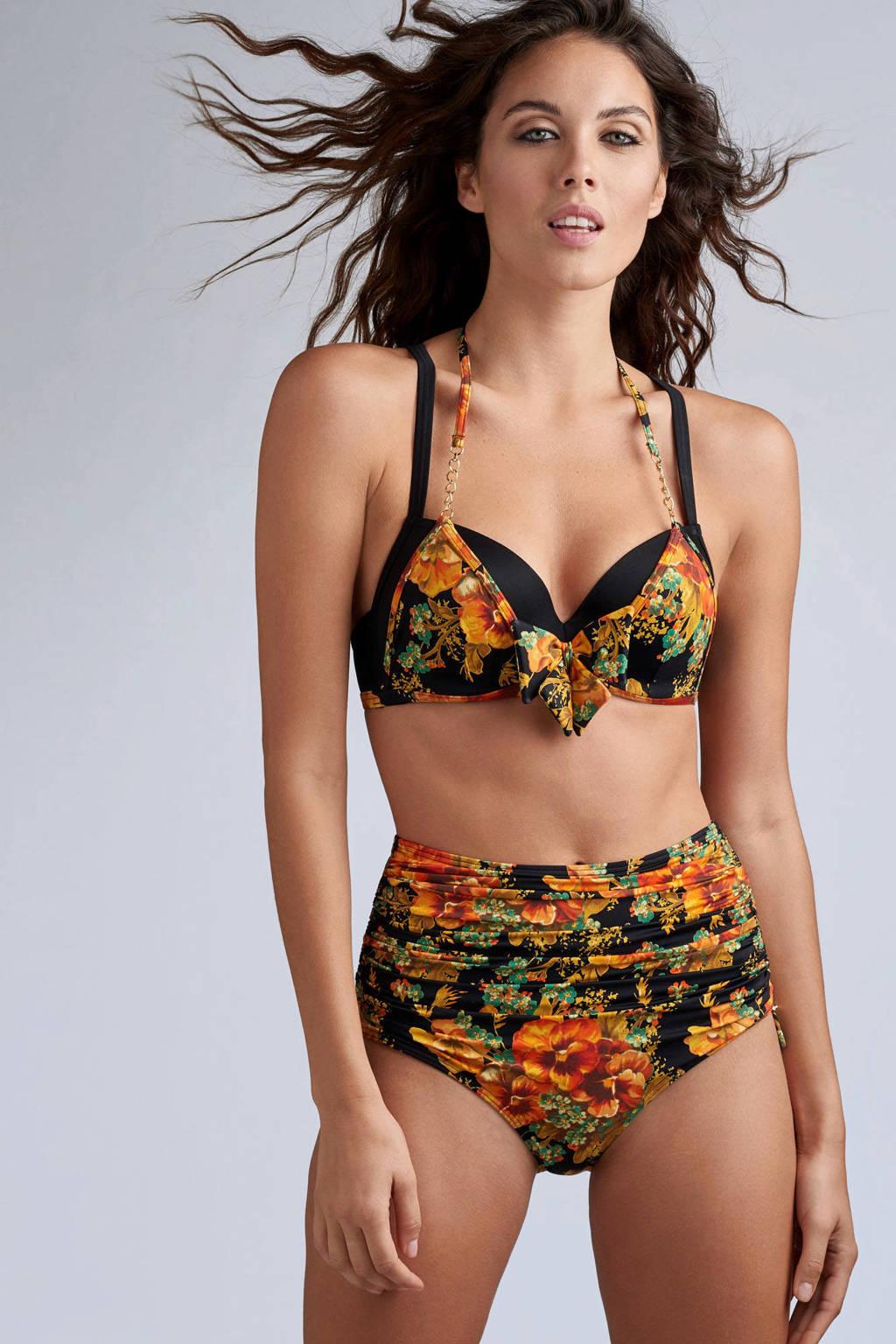 marlies dekkers Swim high waist bikinibroekje Hawaii met bloemen zwart, Oranje / zwart / groen